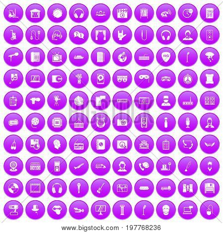 100 microphone icons set in purple circle isolated on white vector illustration