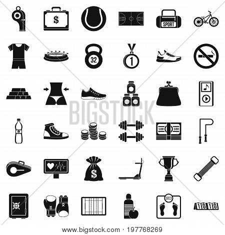 Basketball uniform icons set. Simple style of 36 basketball uniform vector icons for web isolated on white background