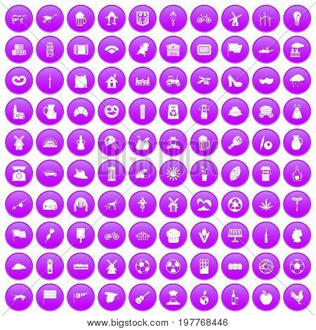 100 mill icons set in purple circle isolated on white vector illustration