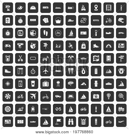 100 voyage icons set in black color isolated vector illustration
