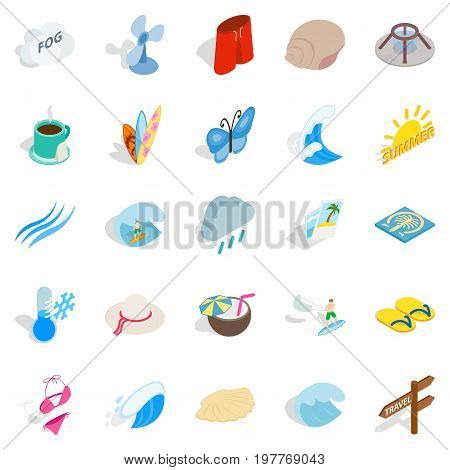 Heat icons set. Isometric set of 25 heat vector icons for web isolated on white background