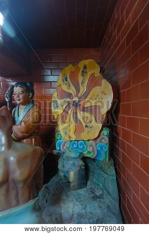 HONG KONG, CHINA - JANUARY 26, 2017: Tsz wan temple, with a hell representation in Hong Kong, China.