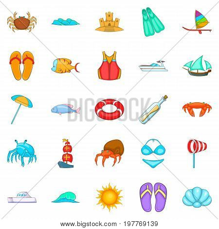 Rest on the ship icons set. Cartoon set of 25 rest on the ship vector icons for web isolated on white background