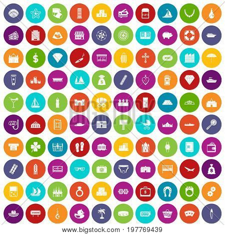 100 wealth icons set in different colors circle isolated vector illustration