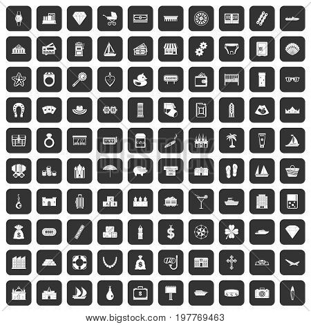 100 wealth icons set in black color isolated vector illustration