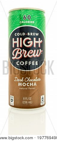Winneconne WI -30 July 2017: A can of Cold Brew High Brew coffee in mocha flavor on an isolated background.