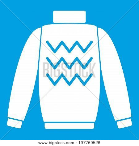 Pullover icon white isolated on blue background vector illustration
