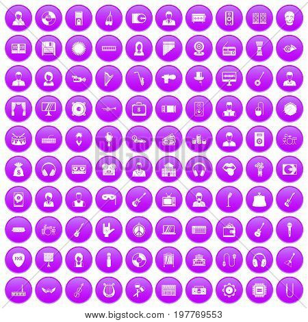 100 music icons set in purple circle isolated on white vector illustration