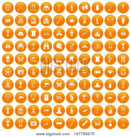 100 museum icons set in orange circle isolated vector illustration