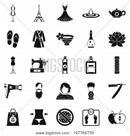 Sewing icons set. Simple set of 25 sewing vector icons for web isolated on white background