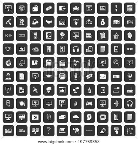 100 website icons set in black color isolated vector illustration