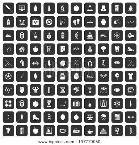 100 well person icons set in black color isolated vector illustration