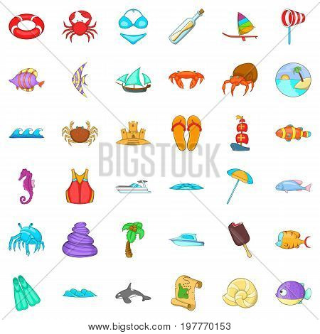 Beach vacantion icons set. Cartoon style of 36 beach vacantion vector icons for web isolated on white background