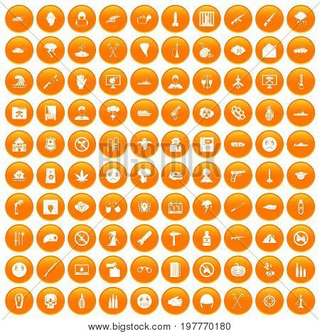 100 oppression icons set in orange circle isolated vector illustration