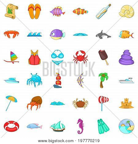 Beach rest icons set. Cartoon style of 36 beach rest vector icons for web isolated on white background