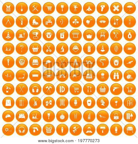 100 outfit icons set in orange circle isolated vector illustration