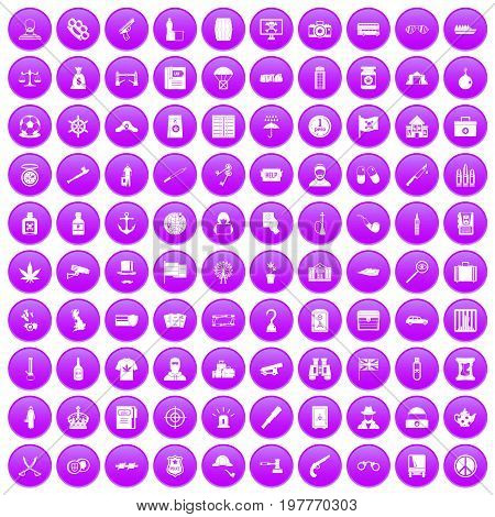 100 offence icons set in purple circle isolated on white vector illustration