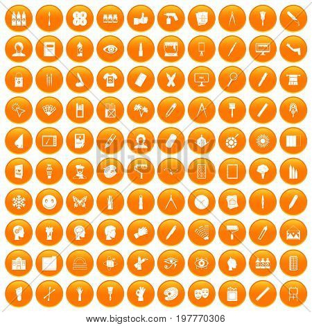 100 paint icons set in orange circle isolated vector illustration