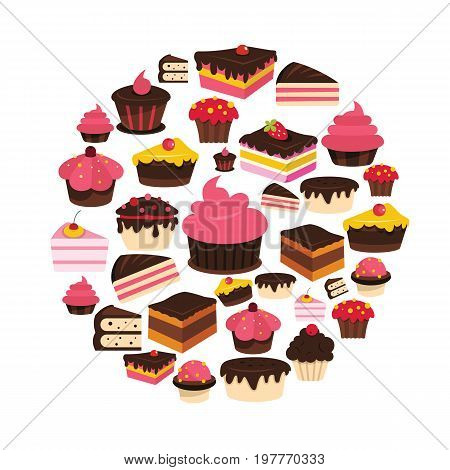 Cake flat icons set on circle. Cake vector illustration for design and web isolated on white background. Cake vector object for labels, logos and advertising