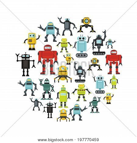 Robot flat icons set on circle. Robot vector illustration for design and web isolated on white background. Robot vector object for labels, logos and advertising