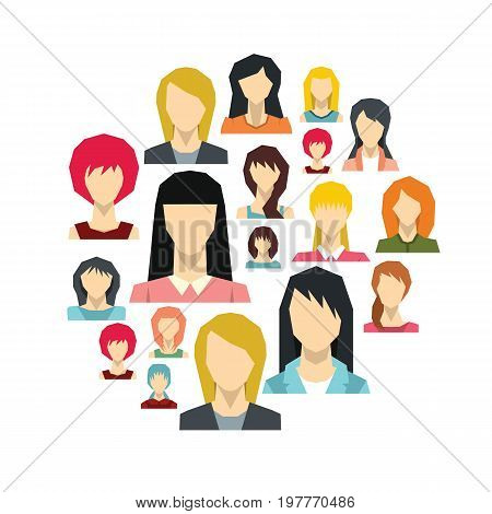 Woman avatar flat icons set on circle. Woman avatar vector illustration for design and web isolated on white background. Woman avatar avatar object for labels, logos and advertising