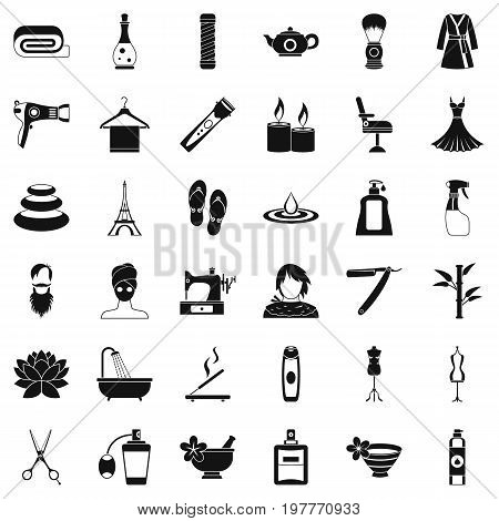 Make up cosmetic icons set. Simple style of 36 make up cosmetic ector icons for web isolated on white background