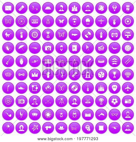 100 photo icons set in purple circle isolated on white vector illustration