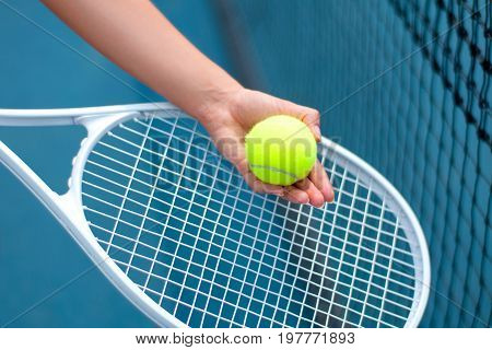 Tennis Player Holding Tennis Ball In Hand  On The Tennis Court