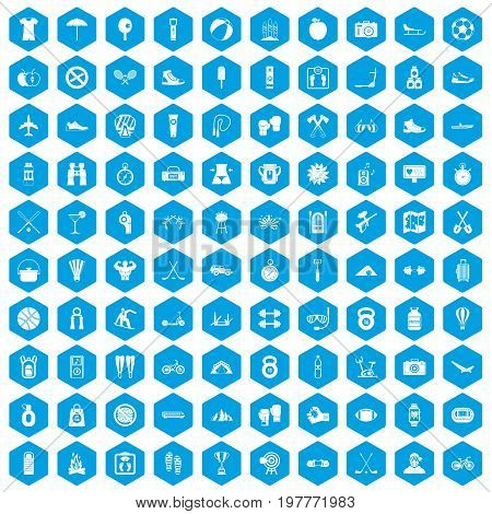 100 active life icons set in blue hexagon isolated vector illustration