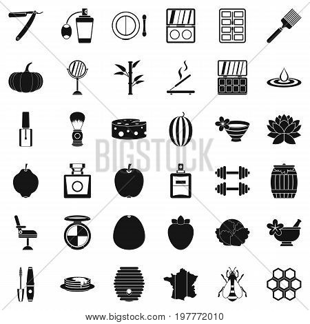 Woman cosmetic icons set. Simple style of 36 woman cosmetic ector icons for web isolated on white background