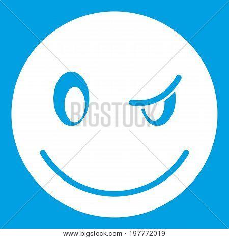 Eyewink emoticon white isolated on blue background vector illustration