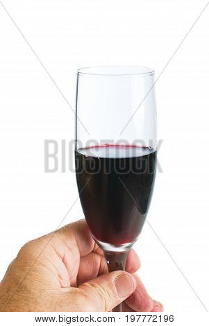 Tasting a small glass of red wine