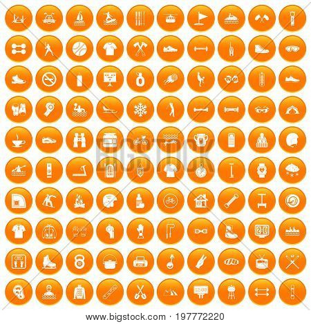 100 sport life icons set in orange circle isolated vector illustration