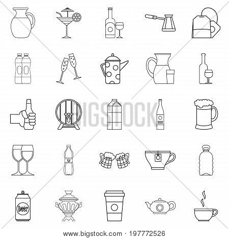 Fruit juice icons set. Outline set of 25 fruit juice vector icons for web isolated on white background