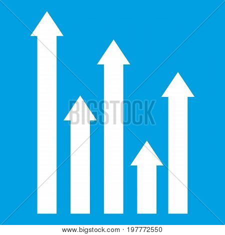 Upside growing arrows icon white isolated on blue background vector illustration