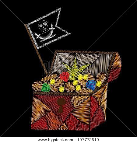 Pirate trunk with treasure and pirates flag embroidery stitches imitation on black background. Embroidery vector illustration with trunk with money diamond and other.
