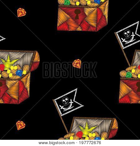 Seamless pattern with pirate trunk with treasure and pirates flag embroidery stitches imitation. Embroidery vector illustration with trunk with money diamond and other.