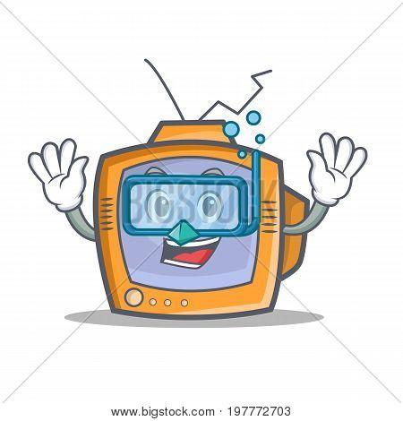 Diving TV character cartoon object vector illustration