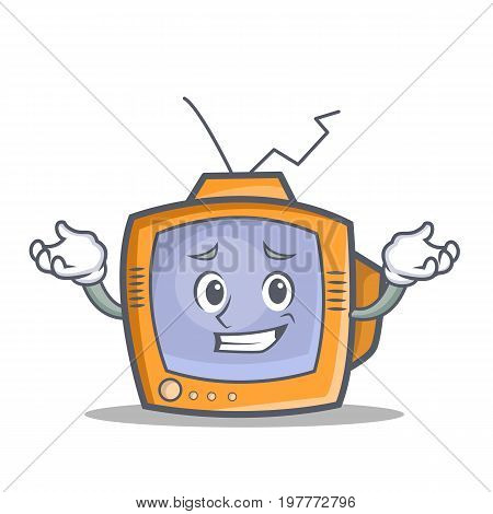 Grinning TV character cartoon object vector illustration