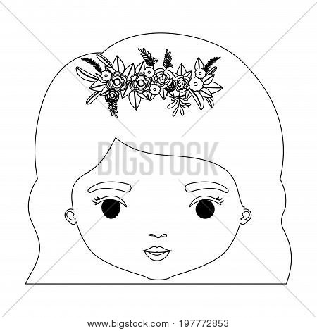 monochrome silhouette of caricature closeup front view face woman with wavy short hairstyle and crown decorate with flowers vector illustration