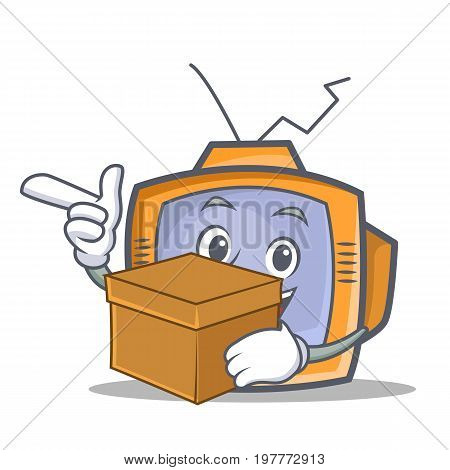 TV character cartoon object with box vector illustration