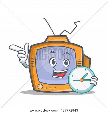 TV character cartoon object with clock vector illustration