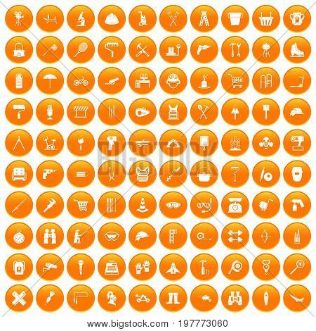 100 tackle icons set in orange circle isolated vector illustration