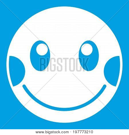Embarrassed emoticon white isolated on blue background vector illustration