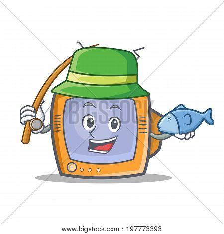 Fishing TV character cartoon object vector illustration