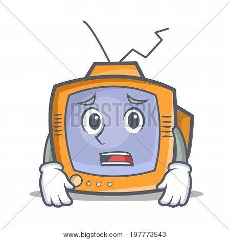 Afraid TV character cartoon object vector illustration