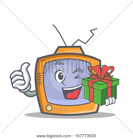 TV character cartoon object with gift vector illustration