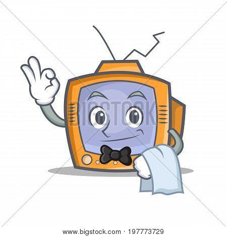 Waiter TV character cartoon object vector illustration