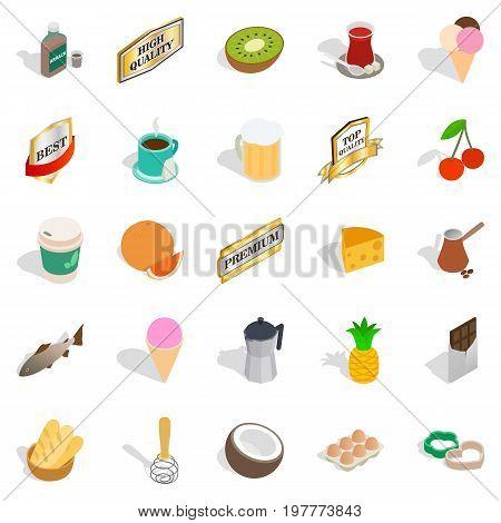 Liquor icons set. Isometric set of 25 liquor vector icons for web isolated on white background