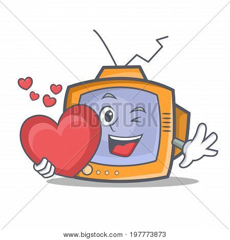 TV character cartoon object with heart vector illustration